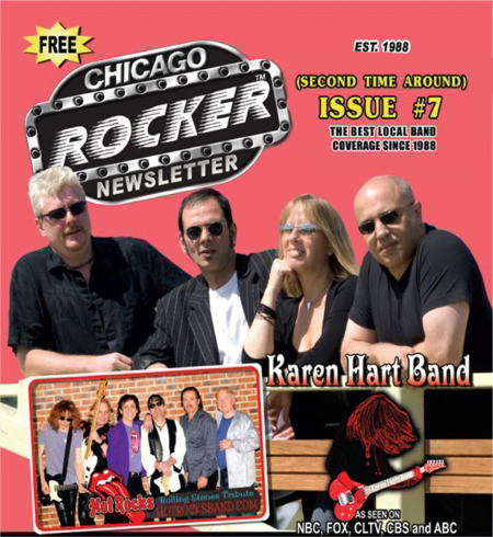 Click to see the online version of the Chicago Rocker with a 2-page article about the Karen Hart Band.